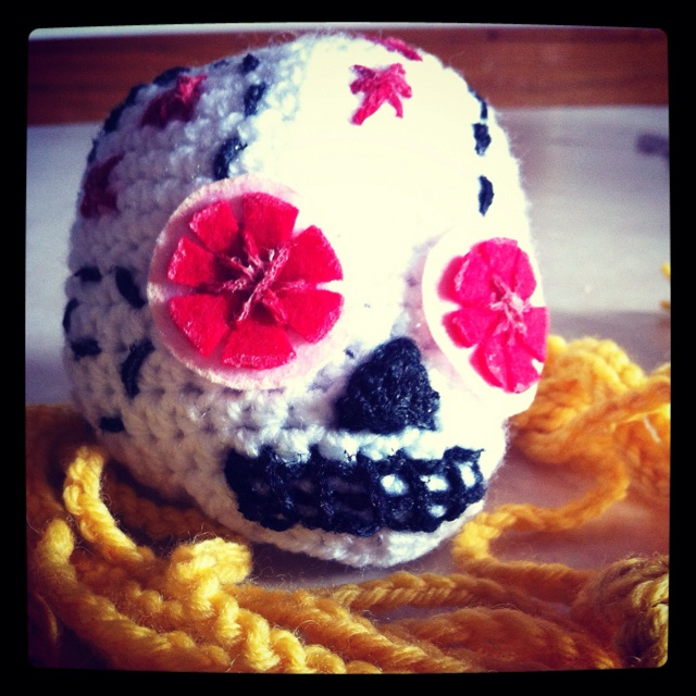 Crochet Sugar Skull & Yellow Head Band from my friend Ana Banana ^_^