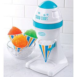 Tabletop machine produces snowy shaved ice for snow cones, slush drinks, margaritas, daiquiris, etc. Just add your own flavored syrup, soda, or other beverage to create refreshments at home, anytime.