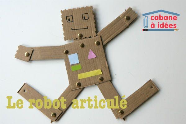 Sortez cartons et attaches parisiennes pour fabriquer ce robot articulé. La technique est simple et classique et vous pourrez organiser facilement un atelier de confection de robot lors d'un anniversaire par exemple : préparez en amont les différentes parties du robot et rassemblez le matériel pour un moment de calme et de créativité. A voir également le pantin articulé, plus simple. Instructions Vous aurez besoin de carton, de ciseaux, d'attaches parisiennes.  Coupez les différentes…