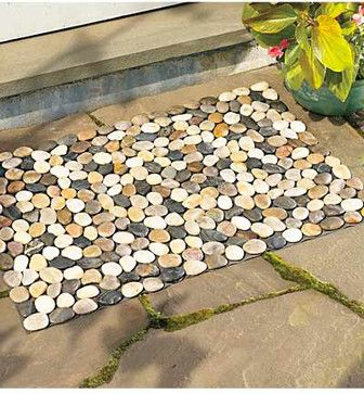 River Rock Floor Mat contemporary-doormats idea from Houzz  - or make this from river rock tile sheets