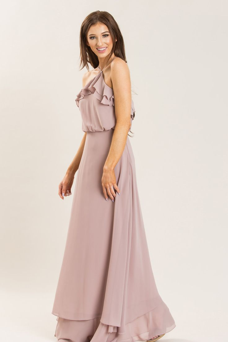 Trina Taupe Halter Maxi Dress - Morning Lavender