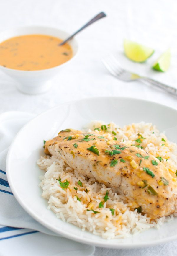 Mahi Mahi with Thai Coconut Curry Sauce & Rice.  Sure this would work well with any delicately flavoured white fillet if you are unable to get Mahi Mahi