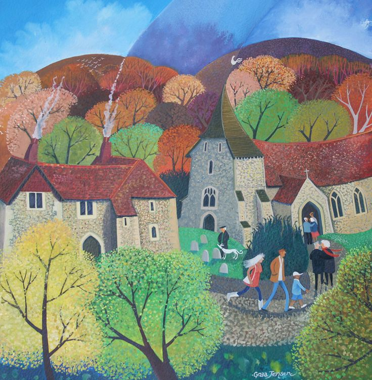 "Lisa Graa Jensen. ""A Country Church"". Acrylic inks."