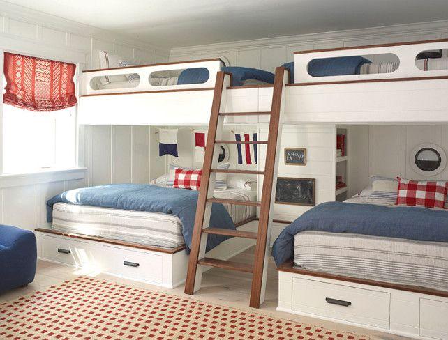 Bunk Room. Bunroom Ideas. Custom Bunk Bed Bunk room ideas.  Burnham Design.