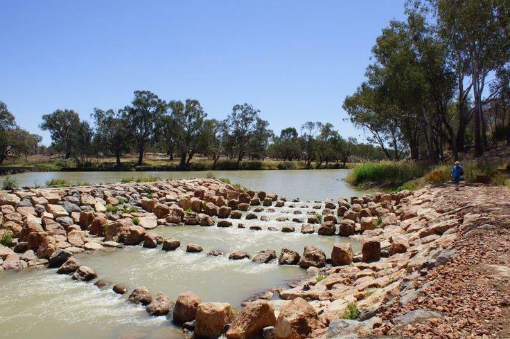 Fishway on the Barwon River, Brewarrina New South Wales, Australia.