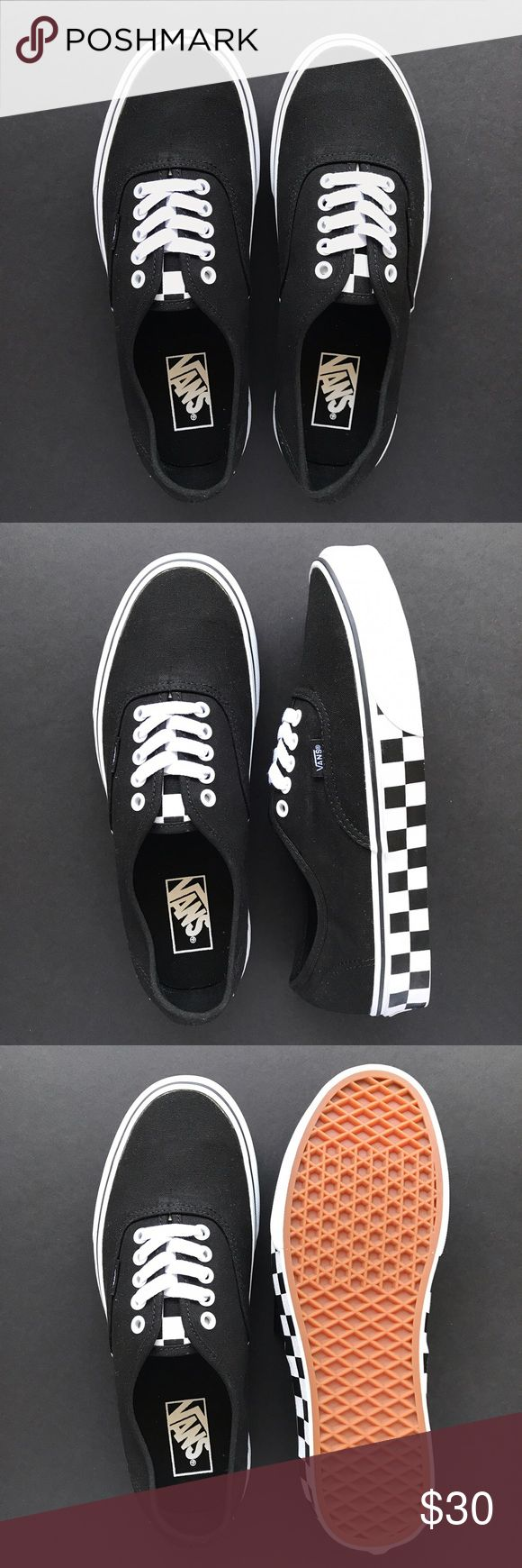 Vans Authentic Black Canvas Checkerboard Sole Black canvas Vans Authentic with checkerboard print on side of soles. Very cool!  Box not included. US Size: Women's 10.5, Men's 9 Vans Shoes Sneakers