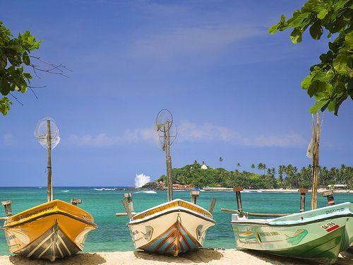 Fishing boats on the beach in Sri Lanka