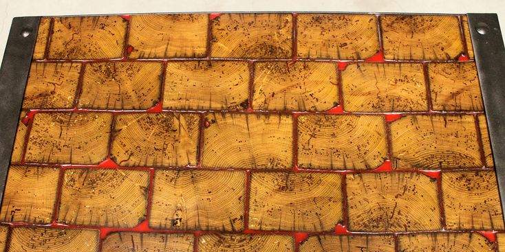 """Wood Tile Close-up - Wood Subway tile table top with red epoxy """"grout"""""""