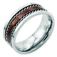 Men Ladies Chisel® Stainless Steel Chocolate Color Plated 8mm Band Ring Size 13