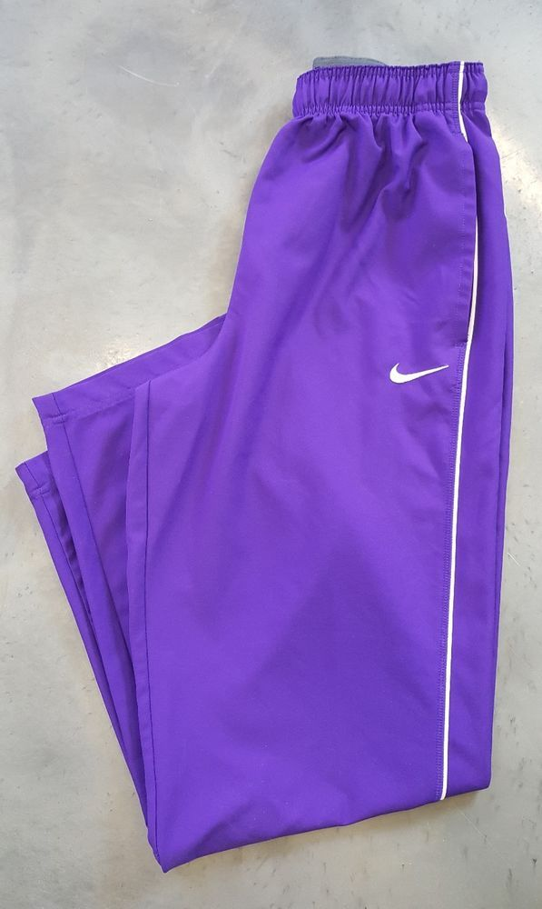 NIKE Womens Purple Dri Fit Vented Workout Running Gym Athletic Pants M 8-10 Zip #Nike #Workout