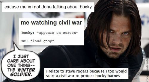 I showed my mom winter soldier, she kept saying Bucky is bad Bucky is bad and I kept saying no he's not he's wonderful in all shape and form!