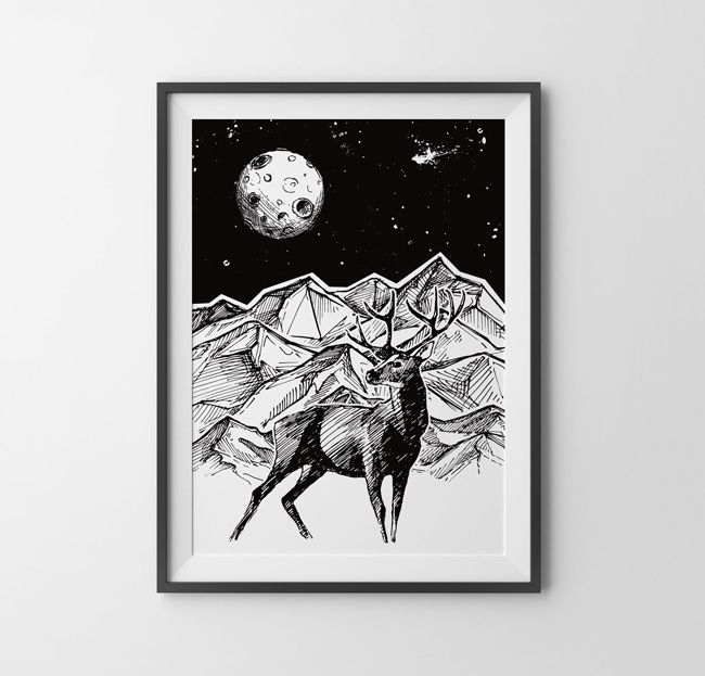 15$/€ Black Deer Poster sketch (by hogstudio.design@gmail.com)You can buy it - contact us! #abstract #abstractart #creative #drawing #drawings #deer #cosmos #geometric #corners #blackandwhite #wheel #triangle #abstract #wildanimals #naturelovers