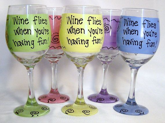 wine flies when youu0027re having fun hilarious funny wine glass gift idea