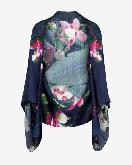 Fuchsia Floral silk cape scarf - Dark Blue | Scarves | Ted Baker UK