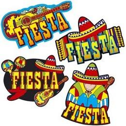 Decoratie Mexicaans 4 stuks -  Vier decoraties voor een Mexicaans of ander tropisch feest. Airiba Aandreee! | www.feestartikelen.nl