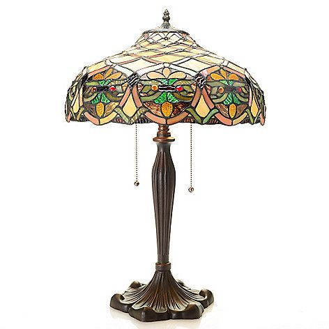 """473-306 - Tiffany-Style  24.5"""" Lattice  Stained Glass  Table Lamp"""