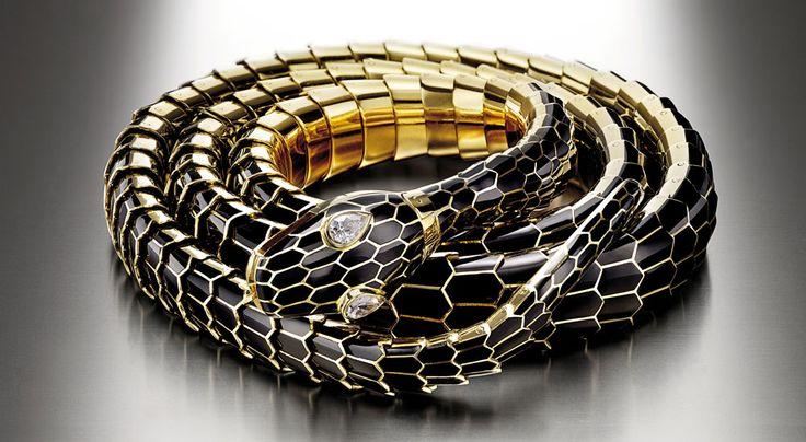 Bvlgari High jewelry  Gold black enamel diamond belt