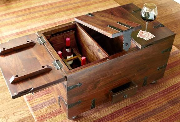 Pier 1 Ridgeway Wine Storage Trunk brings rustic character - So convenient, wine right there when you want it :)