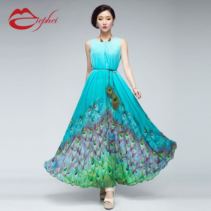 Pixie girl peacock maxi dress