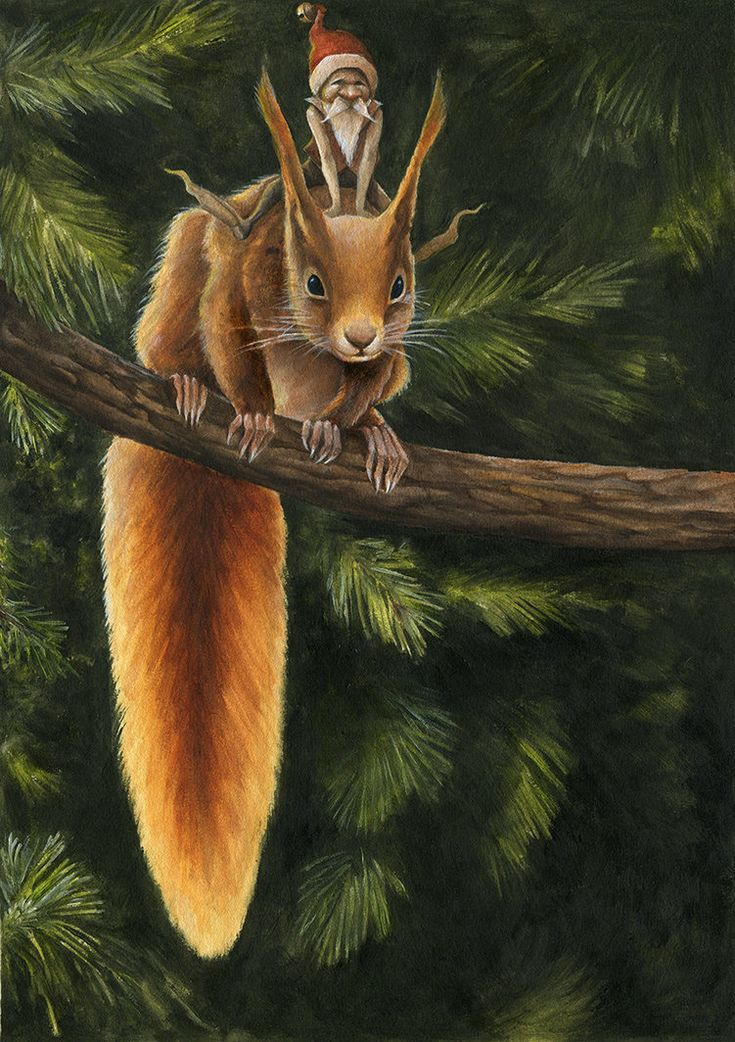 SANTA'S ELF AND RED SQUIRREL BY MARKELLI - MARC POTTS