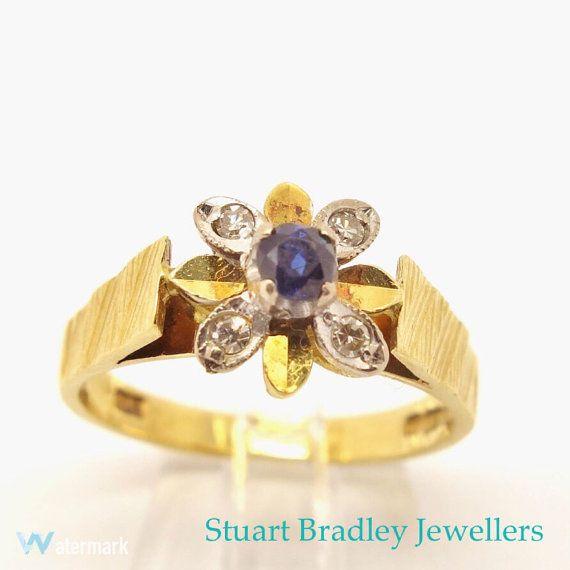 Vintage 18ct Sapphire & Diamond Cluster Ring  by SBradleyJewellers
