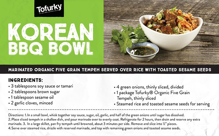 Marinated organic Five Grain Tempeh served over rice with toasted sesame seeds.