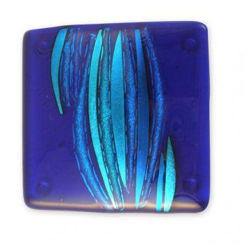 large royal blue fused dichroic glass coaster - Jola Glass [Chipping Campden]