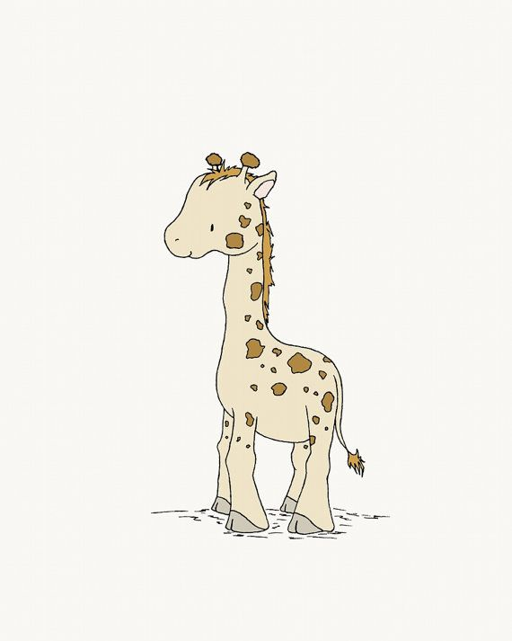 Giraffe Nursery Art :  This little giraffe is smiling and ready to play. With its shaggy hair, knobby knees, and tiny smirk, this little