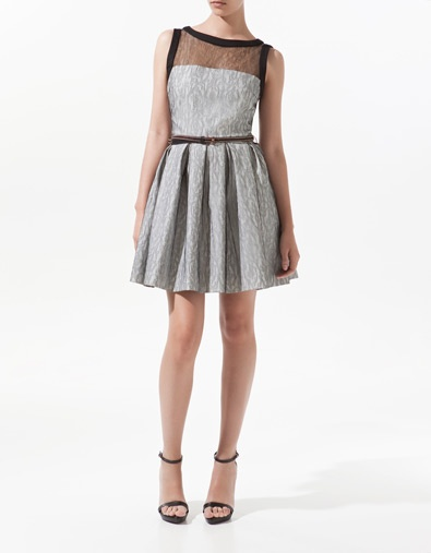 DOUBLE CLOTH AND LACE DRESS - ZARA