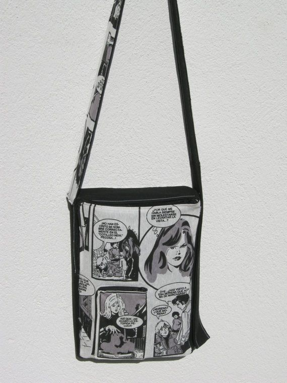 Handmade bag for everyday use made of durable cotton canvas with comic print for boys and girls.