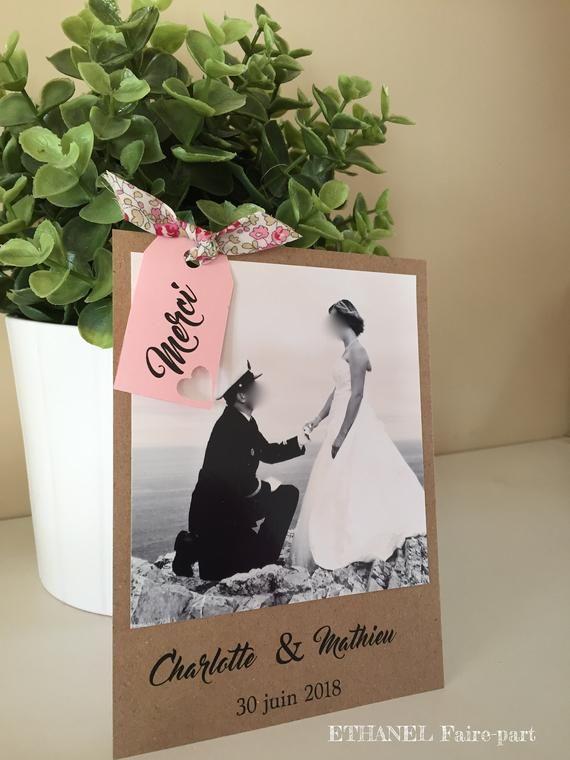 Remerciements mariage Liberty et kraft, champetre , lot de 10