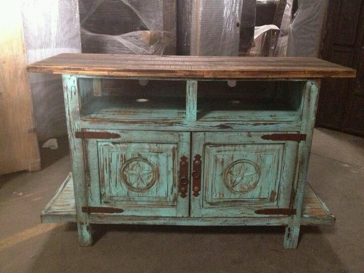 TV STAND TURQUOISE DISTRESSED WOOD | Rustic furniture ...
