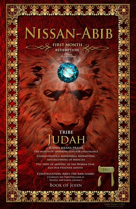 Biblical Months by James Nesbit   First Month Nissan-Abib Tribe of Judah Stone: Blue Topaz
