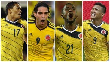 La cuota de gol de Colombia: Carlos Bacca,  Radamel Falcao, Jackson Martínez y Teófilo Gutiérrez. June 13, 2015.