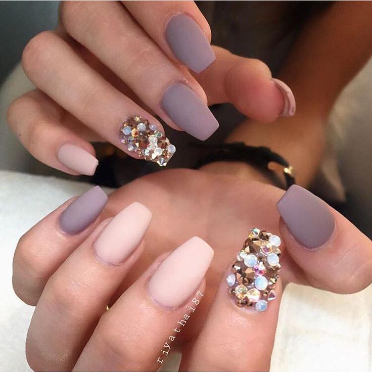 Matte and crystal/gem nails                                                                                                                                                      More