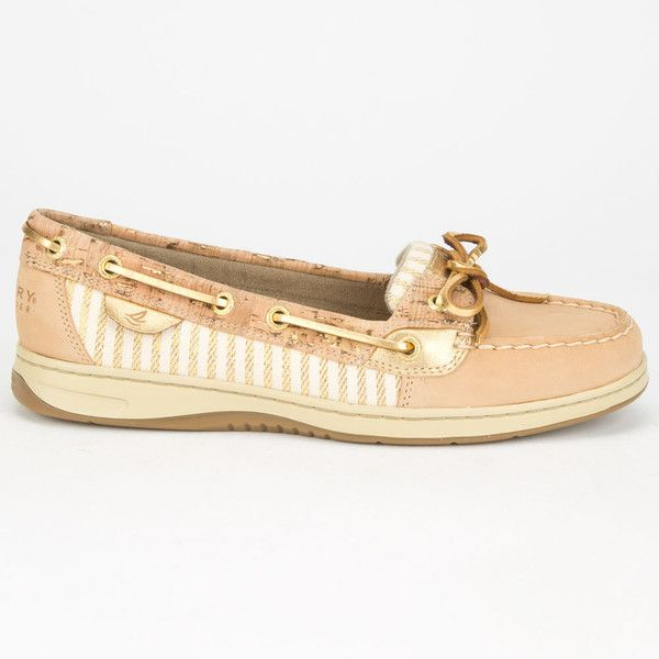 Sperry Top-Sider Angelfish Womens Boat Shoes ($88) ❤ liked on Polyvore featuring shoes, loafers, sand, genuine leather shoes, lace up shoes, leather lace up shoes, slip on deck shoes and top sider shoes