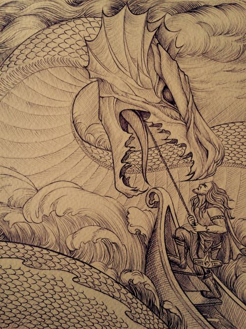 Awesome depiction of Thor battling Jormungandr.