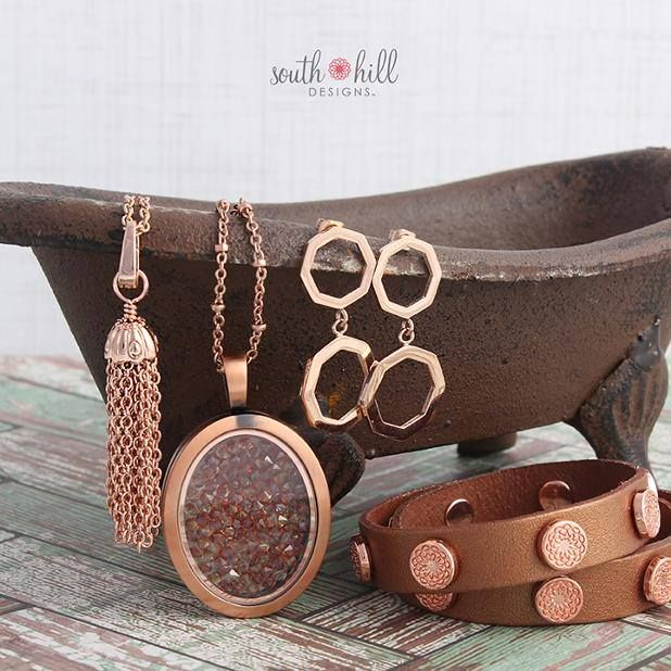 Autumn's our inspiration for a look that's heavy on red and rose gold. We paired some old favorites with two fabulous recent releases to give your style a modern-meets-vintage twist. Put these stunners on and you'll be dreaming in fall colors all season long! http://SouthHillDesigns.com/TammyTamayo