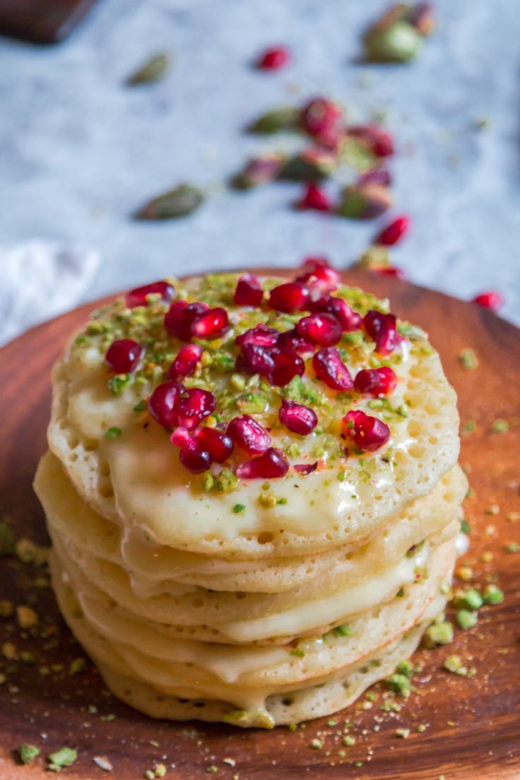 Happy pancake day United Kingdom!! How are you guys celebrating?! I thought  the best way would be with a gorgeous baghrir layer cake. Because why have  one pancake when you can stake them all up and make every single bite  magical?