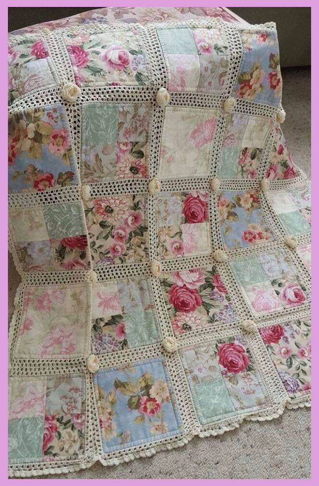 Crochet and fabric quilt | Shabby Chic Bedroom Wallpaper | Shabby Chic Bedrooms | Shabby Chic…   – Shabby Chic Bedrooms