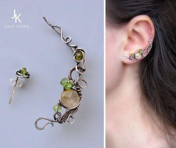 Ear pin by Julia Kotre Каффы, авторские украшения JSjewelry