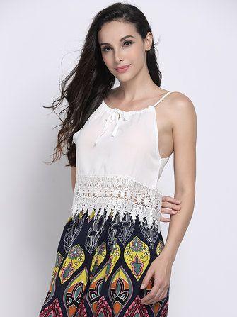 Sexy White Lace Crochet Patchwork Strap Women Tank Top at Banggood