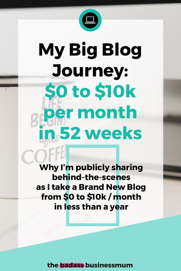 My Big Blog Income Journey: $0 to $10k per month in 52 weeks; Why I'm publicly sharing behind-the-scenes as I take a brand new Blog from $0 to $10k / month in less than a year.