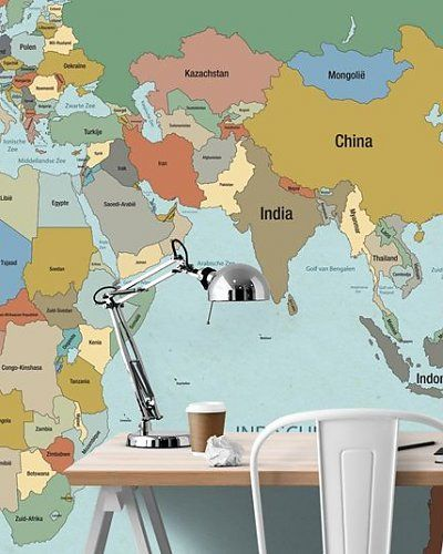 Behang wereldkaart | Wallpaper map of the world | Designed by Tinkle&Cherry | www.tinklecherry.nl