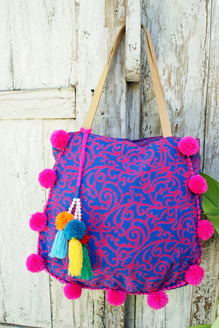 Pom Pom beach bag/Tassels beach bag/Boho Bags/Yoga Bag / Weekend bags * FLORIPA BAG by JavaSpirit on Etsy
