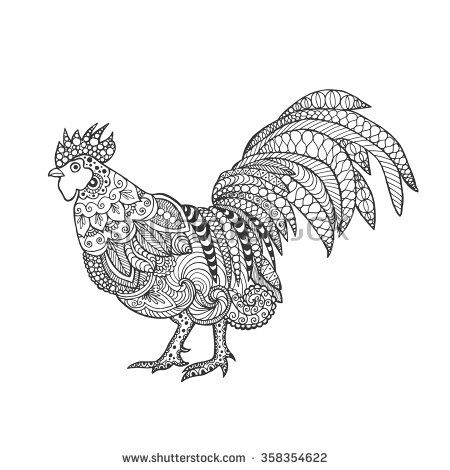 Rooster. Birds. Black white hand drawn doodle. Ethnic patterned vector illustration. African, indian, totem, tribal, design. Sketch for adult antistress coloring page, tattoo, poster, print, t-shirt - stock vector