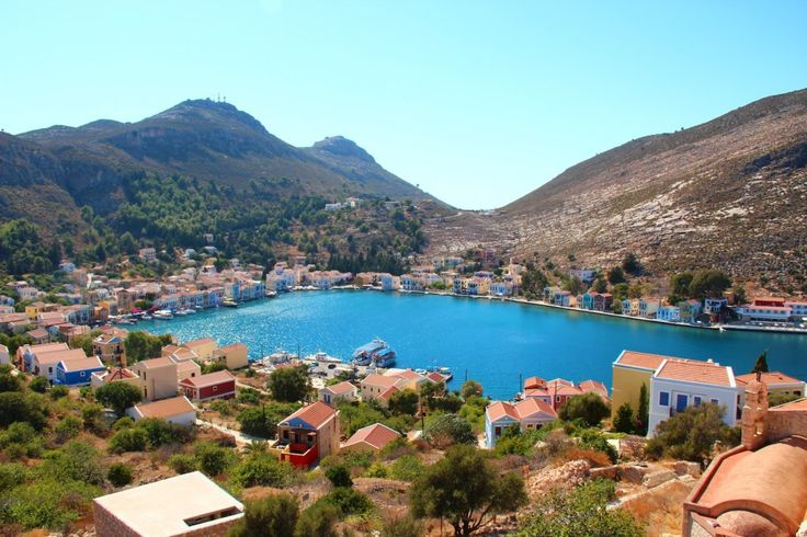 The beautiful view of Meis harbour from the castle on the colourful Greek island of Meis/ Kastellorizo gallivantgirl.com
