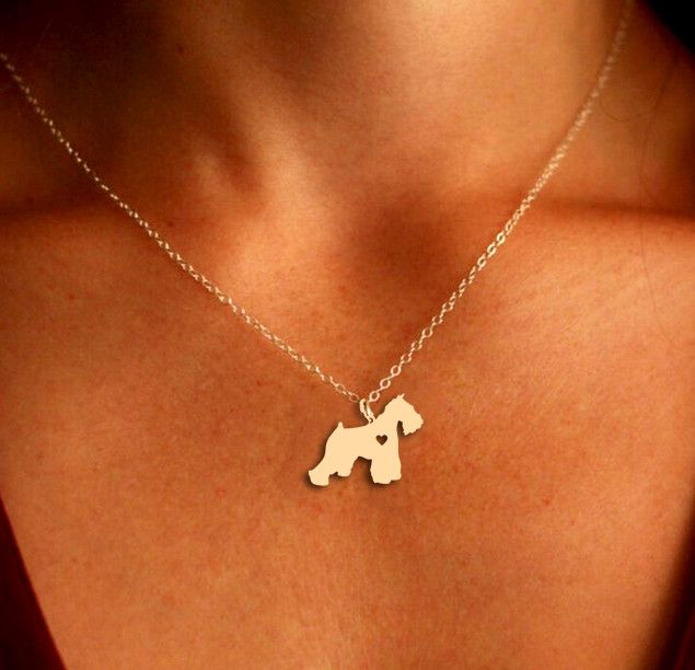 Schnauzer Pendant Necklace - Gold or Silver - If you love your dog, this necklace is perfect way to show it.