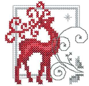 Deer cross stitch free embroidery design - Cross stitch machine embrodiery…