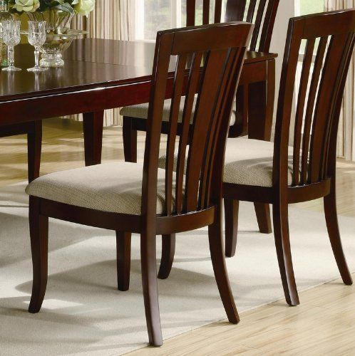 "Set of 2 Dining Chairs with Slat Design in Deep Cherry Finish by Coaster Home Furnishings. Save 41 Off!. $160.61. Dining and Kitchen. Some assembly may be required. Please see product details.. Set of 2 Dining Chairs Slat Design Deep Cherry Finish. Dining and Kitchen->Seating->Wood Chairs. Dimension: 21""W x 25""D x 41""H.Seat Depth: 19 1/2"".Finish: Deep Cherry. Material:Hardwood, Birch veneer.Set of 2 Dining Chairs with Slat Design in Deep Cherry Finish.Create a casual contemp..."
